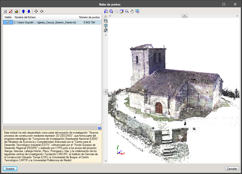 IFC Builder. Reading of point clouds